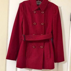 Nine West Red Pea Coat like new